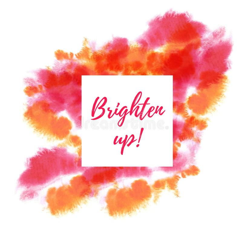 Red, pink, magenta and bright orange neon watercolor burst stains bacground. Hand drawn on wet paper. White square space. Red, pink, magenta and bright orange royalty free stock images