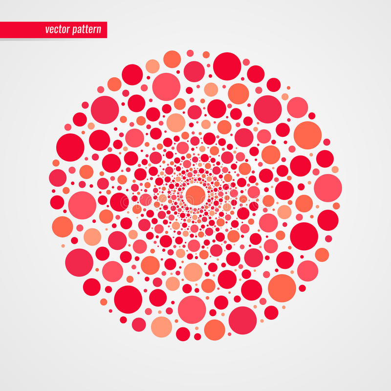 Red pink and orange bubbles vector pattern. Circle shape isolated symbol. Decorative design element. Abstract happy illustration stock illustration