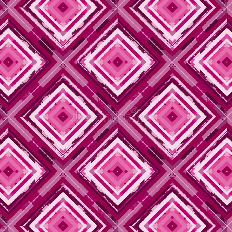 Red and pink painted diamonds in a repeating seamless pattern. Colorful painted repeating pattern of diamonds and rhombuses with hand-painting quality. for vector illustration