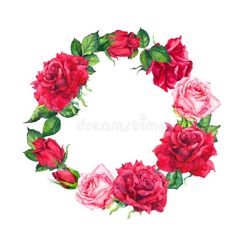 Red and pink rose flowers wreath. Floral round border. Watercolor for Valentine day, wedding, save date card vector illustration