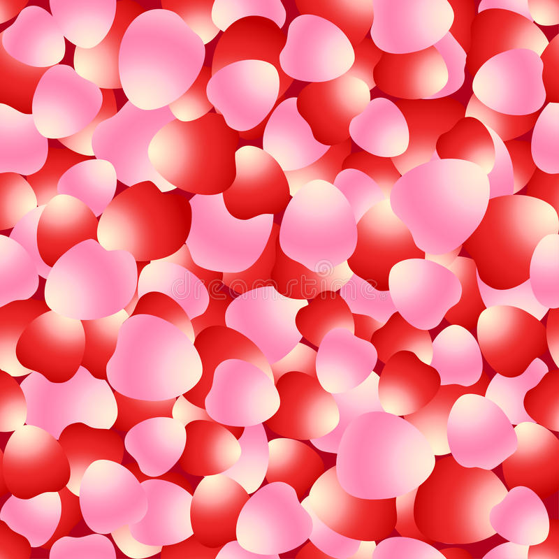 Red and pink rose petals seamless pattern vector illustration