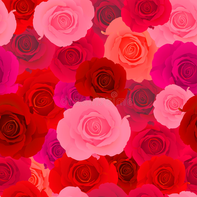 Red & Pink Rose Seamless Pattern stock illustration