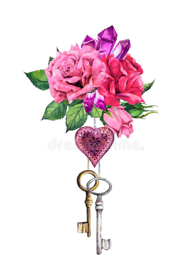 Red, pink roses with heart, two keys, feathers, crystal gemstone. Romantic watercolor bouquet for Valentine day, wedding vector illustration