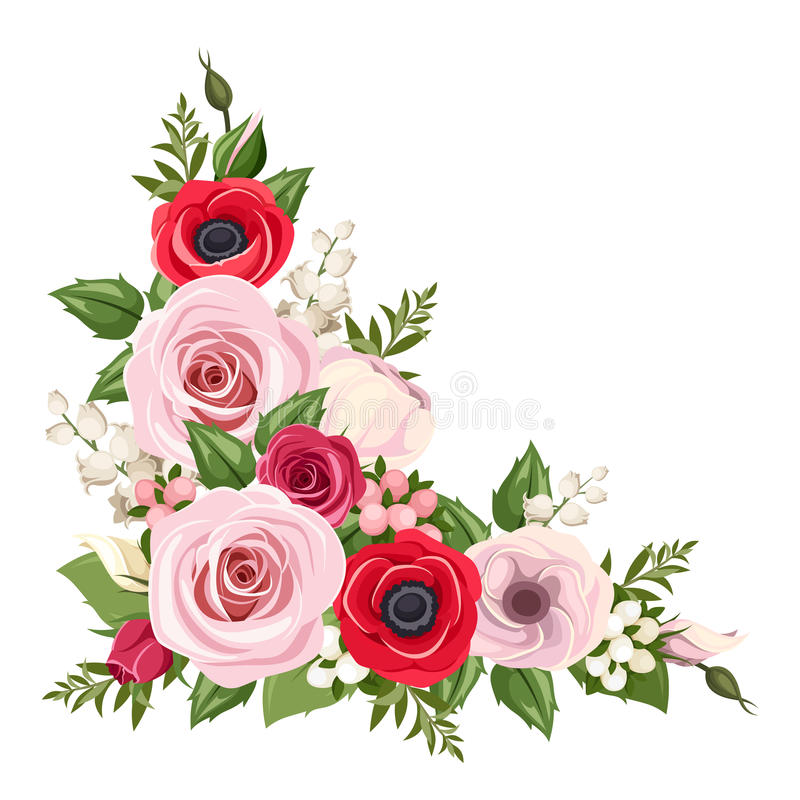 Red and pink roses, lisianthus and anemone flowers and lily of the valley. Vector corner background. vector illustration