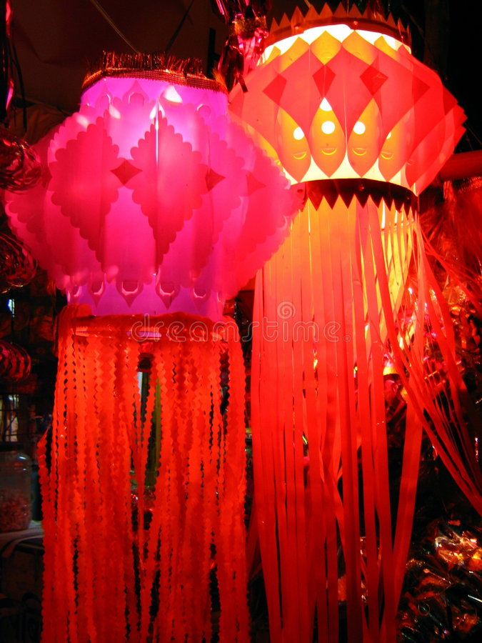 Red & Pink Skylanterns. Traditional Red and Pink Colored Lanterns are lighted up in Diwali festival in India stock photos