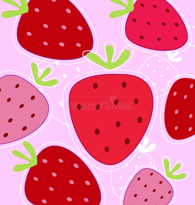 Red and pink strawberry background stock illustration