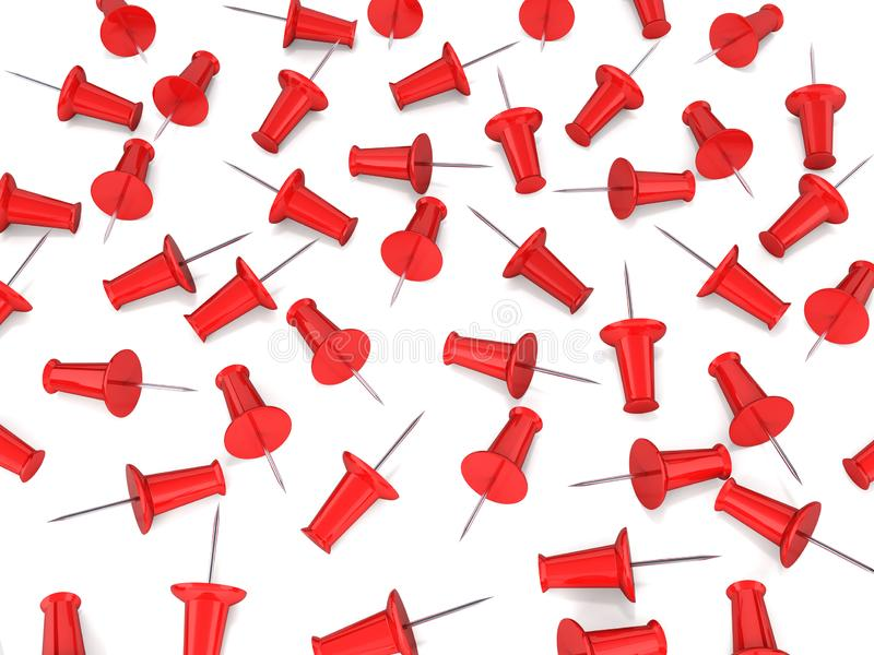 Red pins on white background 3d royalty free illustration
