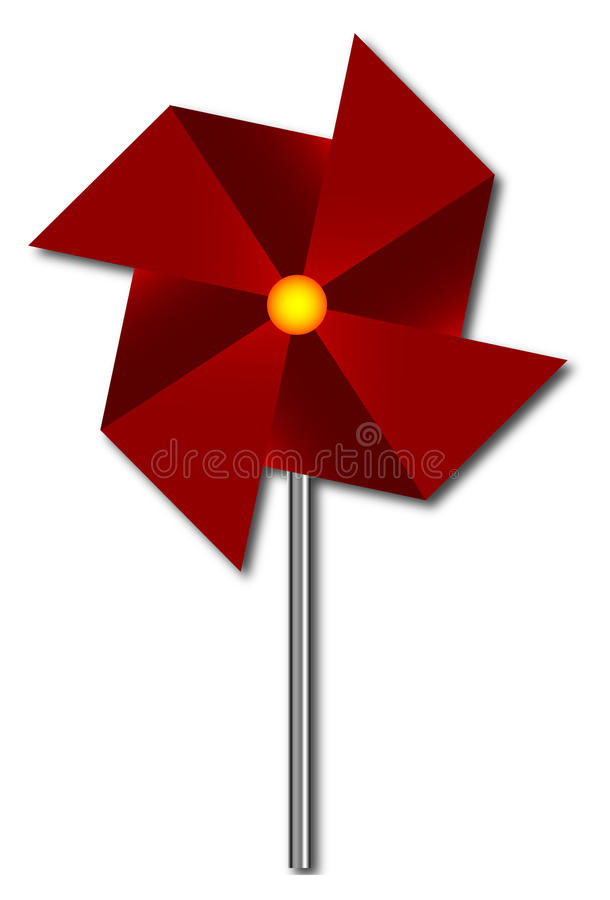Download Red pinwheel stock vector. Illustration of rotate, mill - 10234901