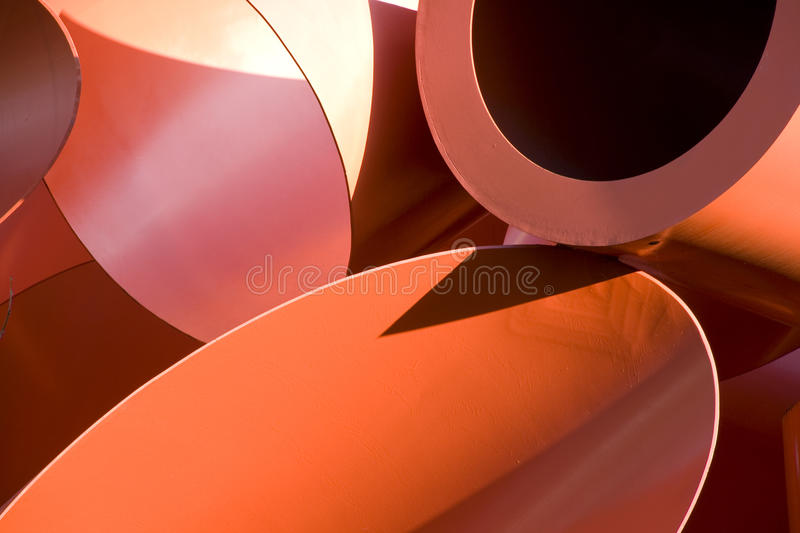 Red pipes artwork stock images