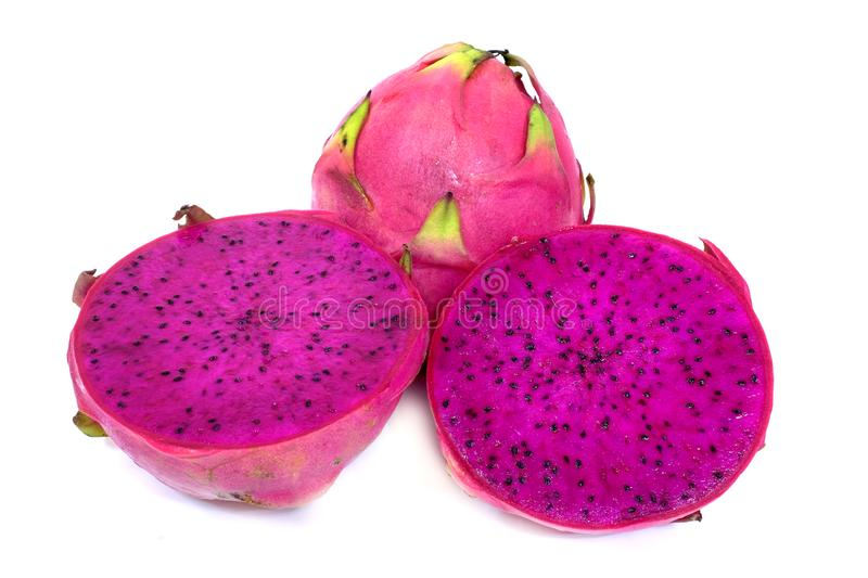 Red pitahaya. Sliced red pitahaya on a white background stock images