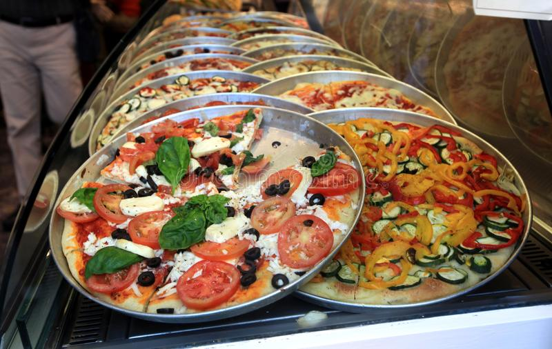 Red pizza Italy original food stock photography