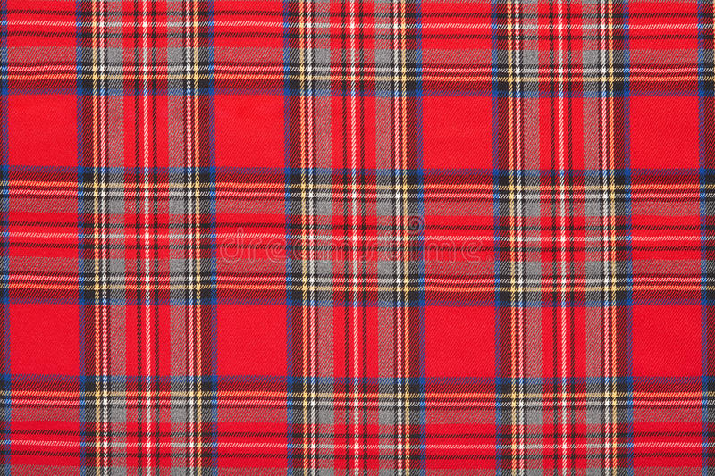 Red plaid, checkered scottish fabric background stock photo