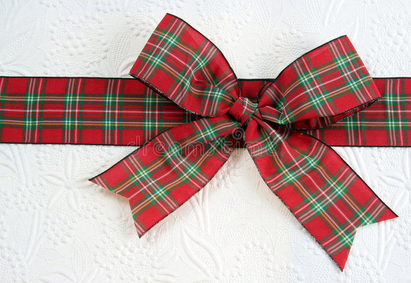 Red Plaid Christmas Bow royalty free stock photo