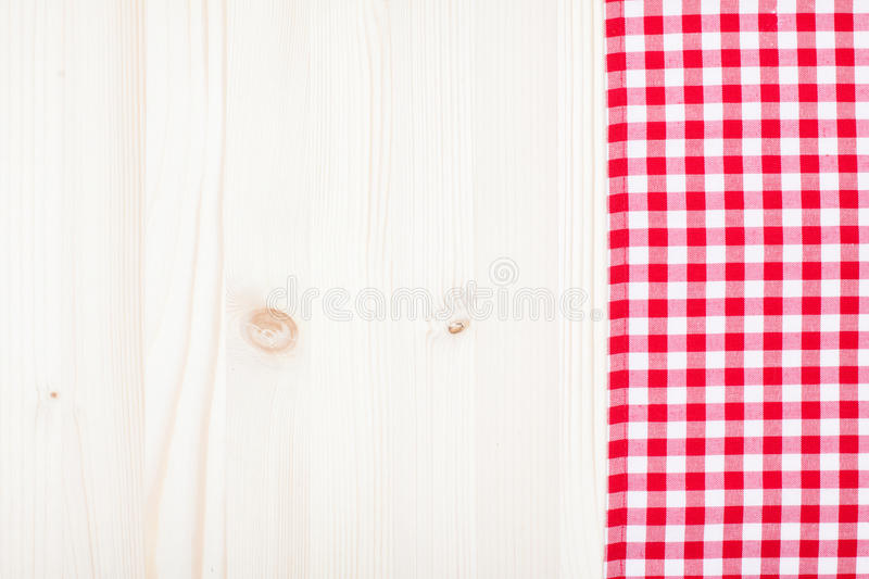 Red Plaid Cloth On White Wood Royalty Free Stock Images