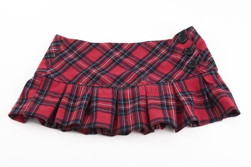Red plaid mini skirt stock photography