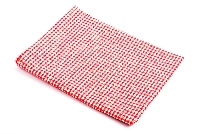 Red plaid tablecloth folded in two stock photography