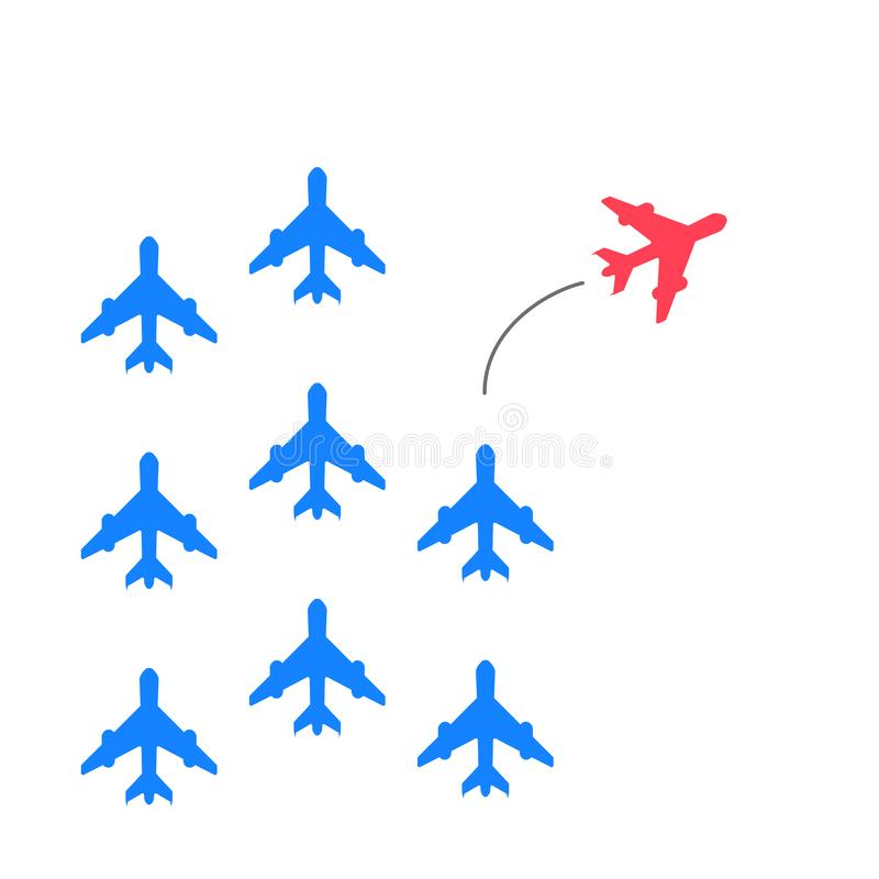 Red plane changes direction. New idea, trend, change, courage, innovation and unique concept of the path, new thinking. With airplane, creative decision, think vector illustration