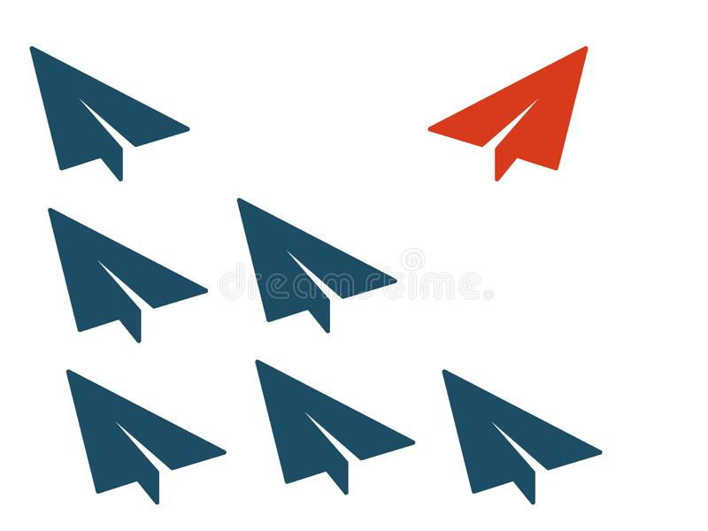 Red plane changes direction. New idea, trend, change, courage, innovation and unique concept of the path, new thinking with. Airplane, creative decision stock illustration