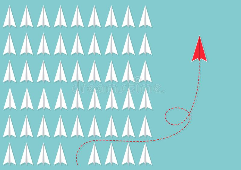 Red plane changing direction differently from white planes, business innovation leadership think different new idea concept. Red plane changing direction royalty free illustration
