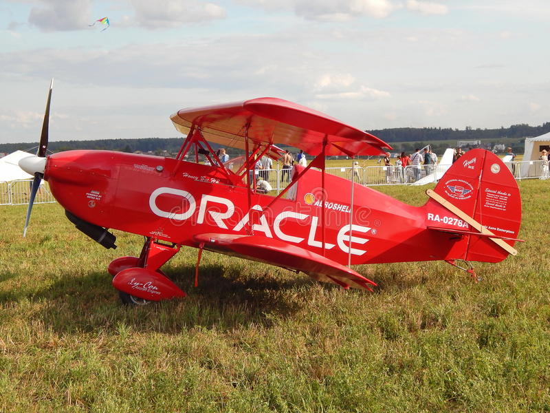 A red plane at the first festival of aeronautics Moscow Sky, August, 2014. royalty free stock images