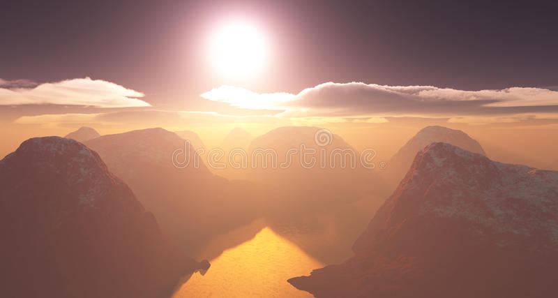 Red Planet. Sunrise over a red planet with high mountains topped with snow and a lake surounded by them royalty free illustration