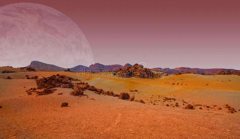 Red planet with arid landscape, rocky hills and mountains, and a giant Mars-like moon at the horizon. For space exploration and science fiction backgrounds stock photography