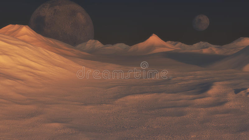 Red planet and distant planet royalty free stock photo