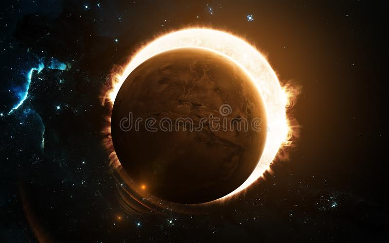 Red planet, eclipsing the Sun. Mars, solar system. Science fiction art. Elements of the image were furnished by NASA stock illustration