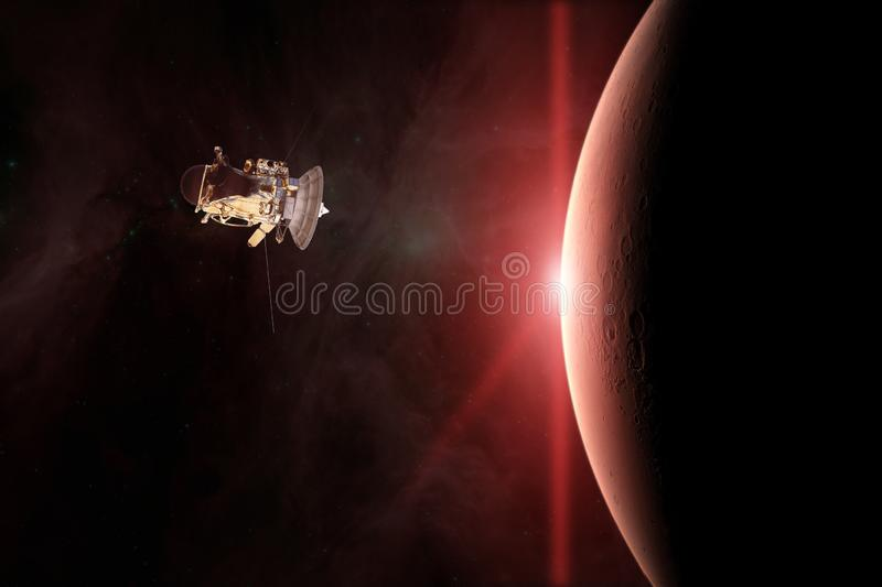 Red planet Mars. Spacecraft launch into space. Elements of this image furnished by NASA vector illustration