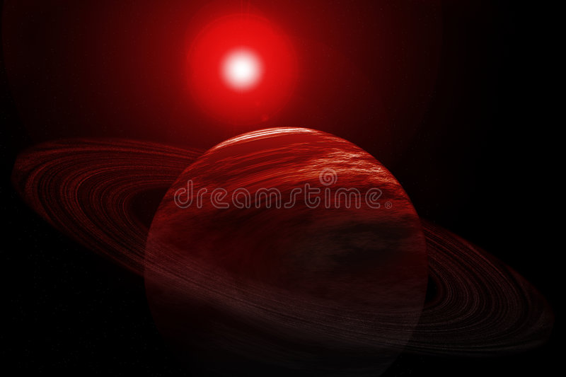 Download Red Planet With Rings, Stars And Sun Stock Illustration - Illustration of planet, glare: 105393