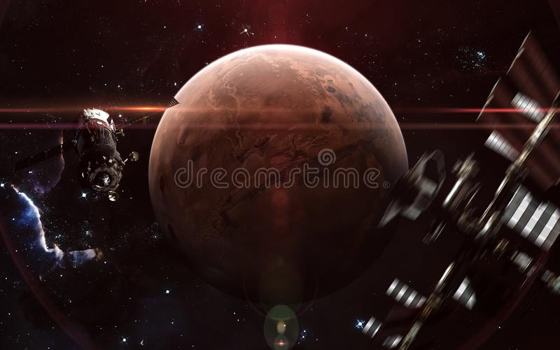 Red planet of solar system. Mars, space stations. Science fiction art. Elements of the image were furnished by NASA royalty free stock photography