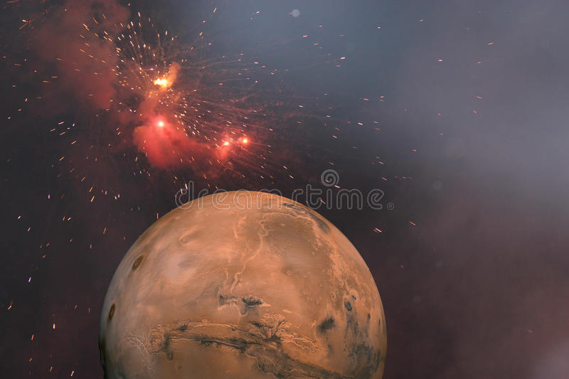 Red planet. A space shot showing the planet mars and other entities of galaxy