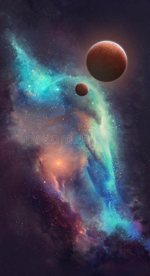 Red planets. Against the background of the nebula stock illustration