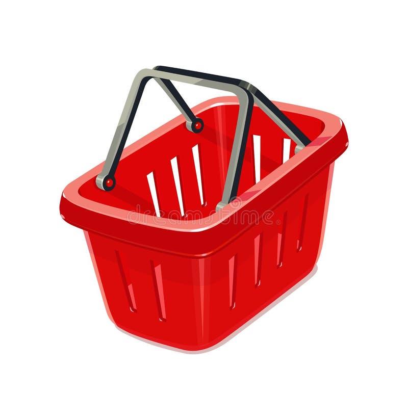Red plastic basket for shopping vector illustration