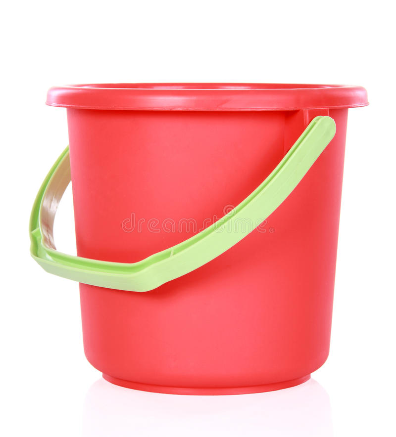 Red plastic bucket royalty free stock photography