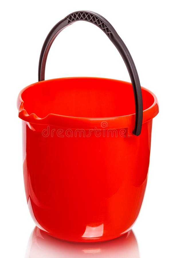 Red plastic bucket. Isolated on a white background stock photography