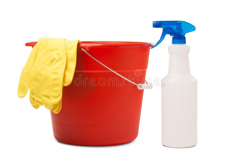 Red Plastic Bucket Used for Cleaning with Yellow Rubber Gloves and a Spray Bottle royalty free stock images
