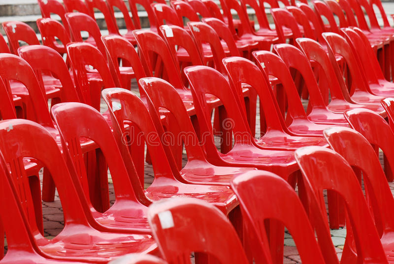 Red Plastic Chairs stock images