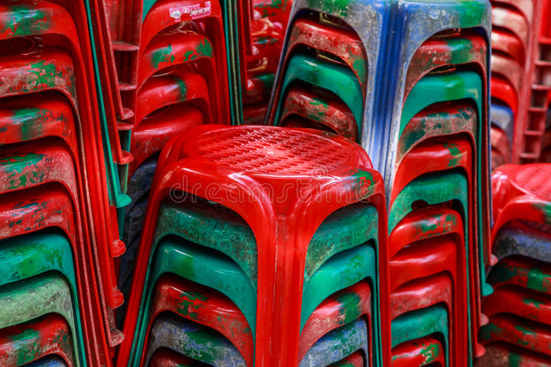 Red plastic chairs. Stock of red plastic chairs royalty free stock image