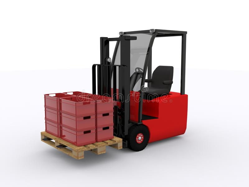 Red Plastic crate. Plastic crate on white background royalty free illustration