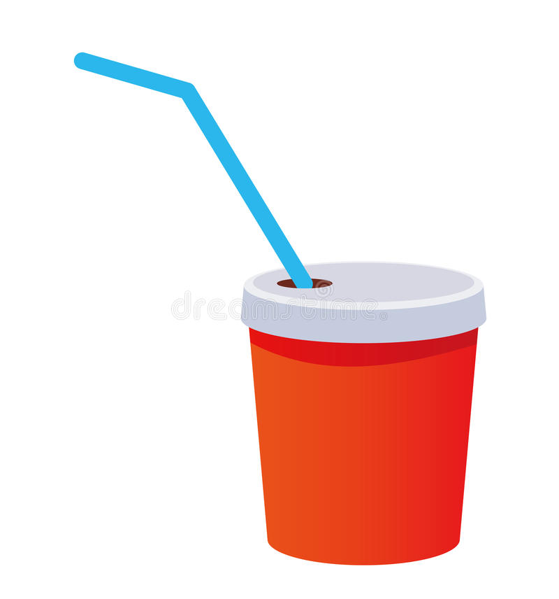 Download Red Plastic Cup With A Straw Stock Illustration - Illustration of cartoon, coffee: 10261912