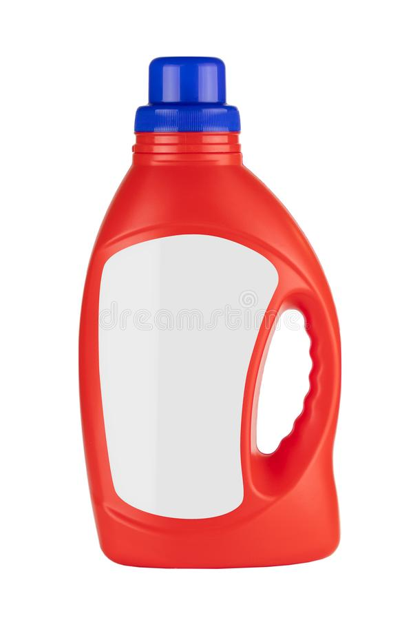 Red Plastic Detergent Container Bottle Mock Up with Blank Space for Yours Design royalty free stock photography
