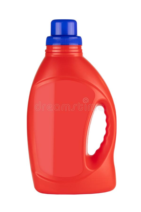 Red Plastic Detergent Container Bottle Mock Up with Blank Space for Yours Design royalty free stock photos