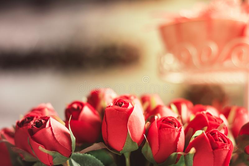 Red plastic roses royalty free stock photo
