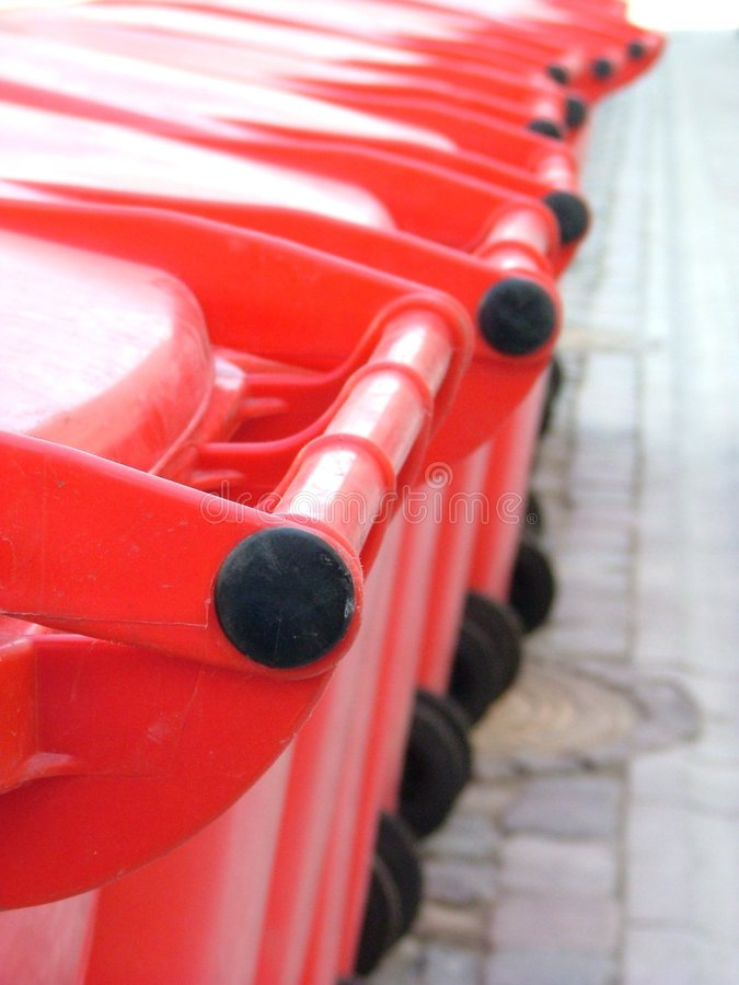 Free Red Plastic Rubbish Bins Stock Images - 1527324