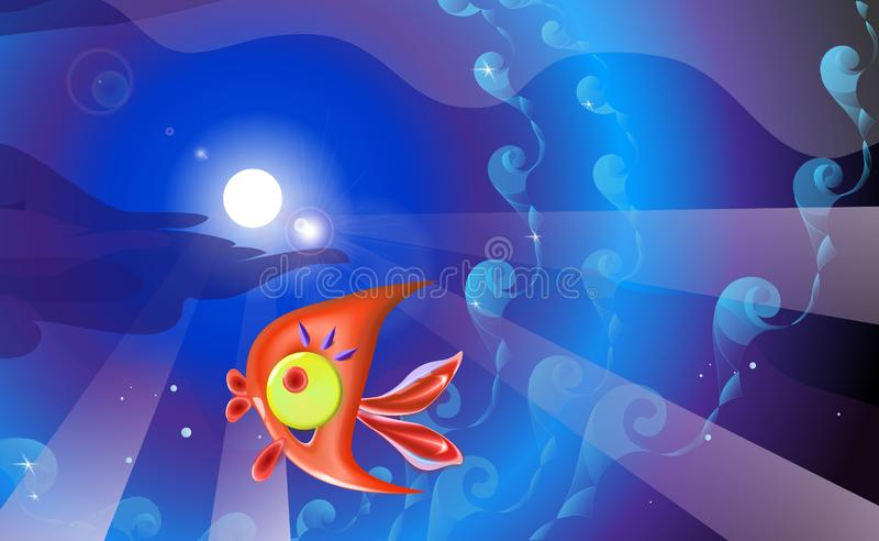 Red plastic toy fish and background in blue tones. Sea coral reef vector illustration of little cartoon funny illustration for stock illustration