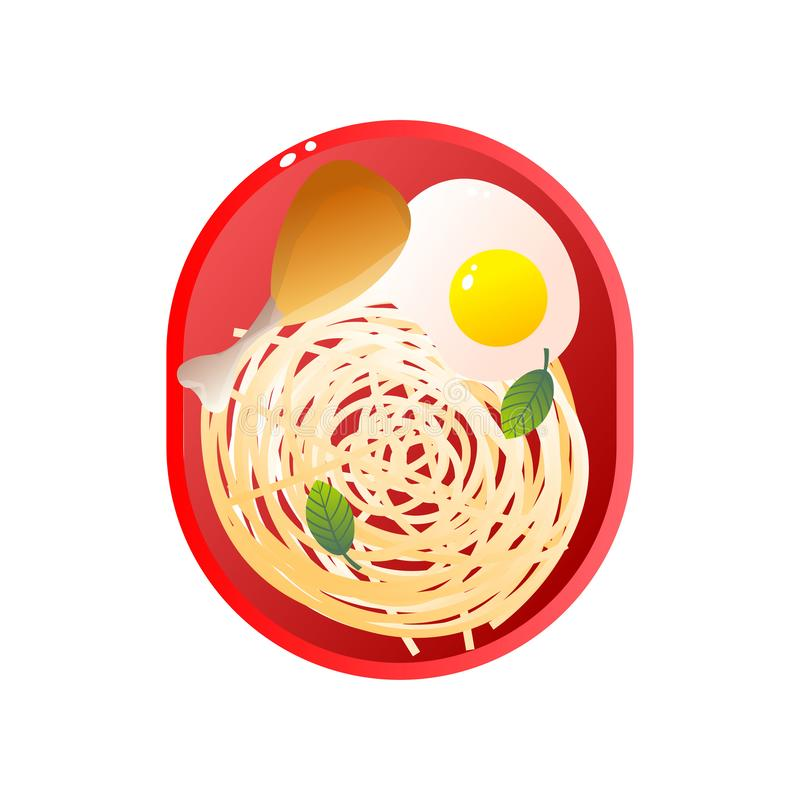 Red Plate with Chicken Drumstick, Pasta and Fried Egg, School Lunch Vector Illustration royalty free illustration