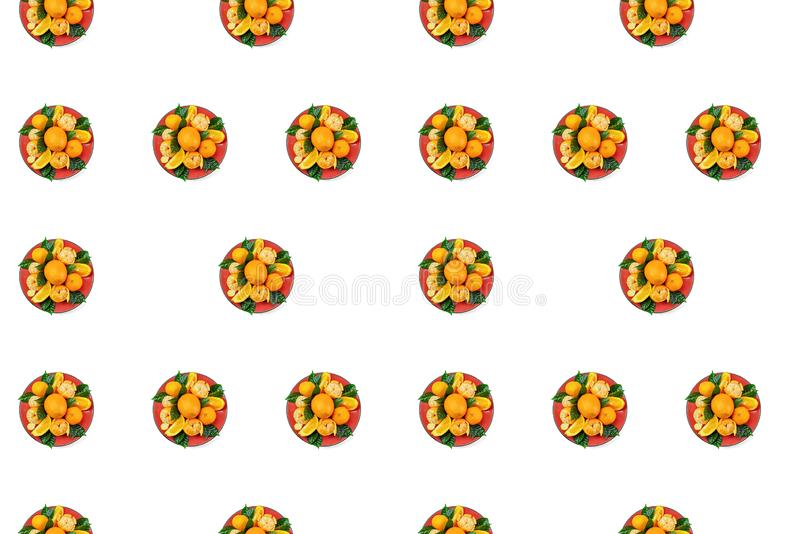 Red plate of oranges and tangerines with green leaves on a light background Top view copy space pattern. Red plate of oranges and tangerines with green leaves on stock illustration