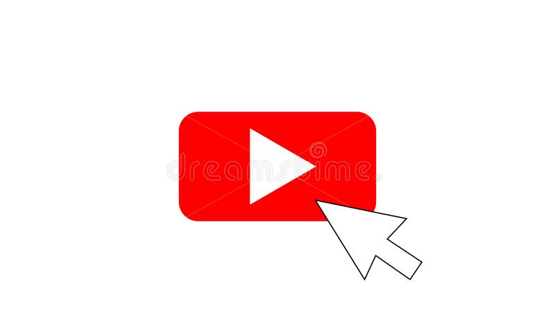 Red Play Vector Logo with cursor, Icon Button.youtube Flat Social Media royalty free illustration