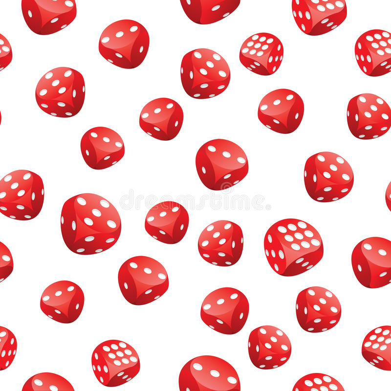 Red playing dices seamless pattern. Seamless pattern of red gambling dices in motion randomly placed on white background. Adobe Illustrator EPS8 file stock illustration